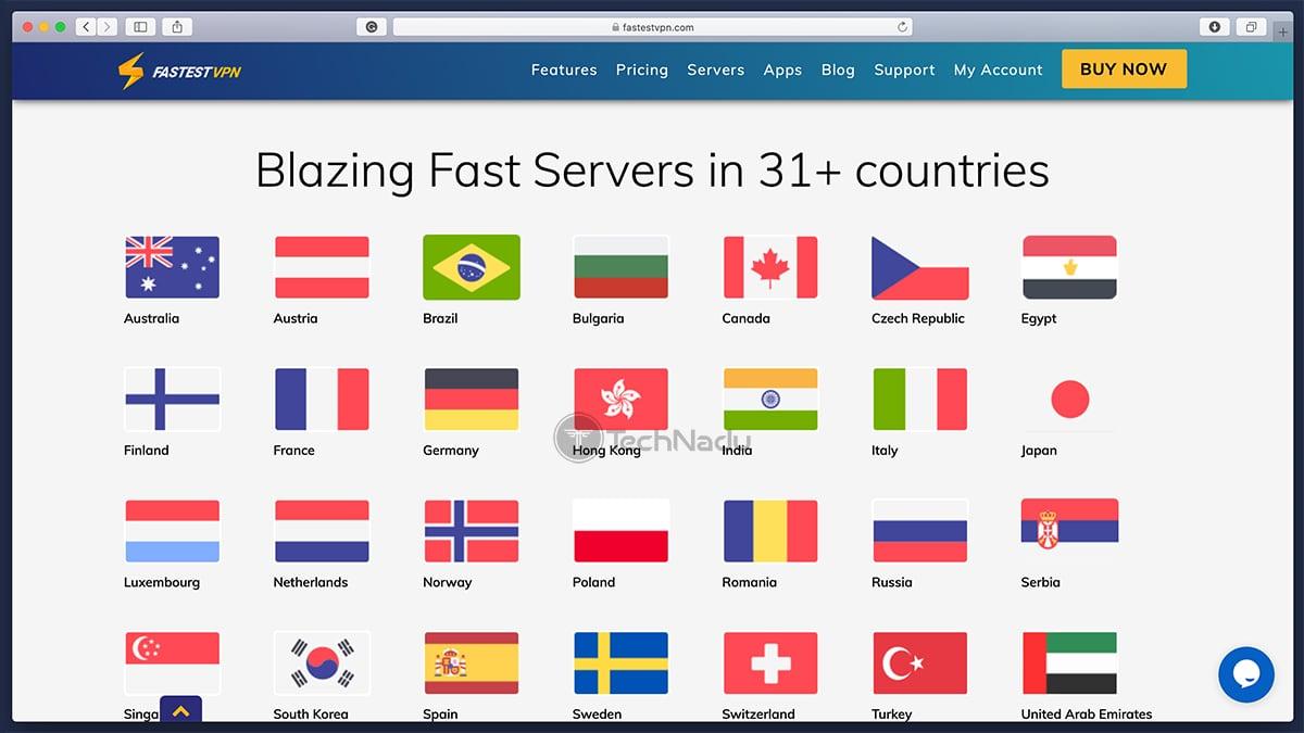 List of FastestVPN Server Locations
