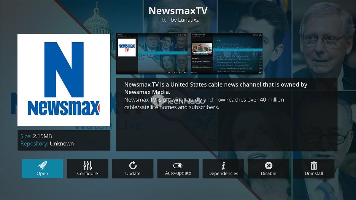 Newsmax TV Kodi Addon