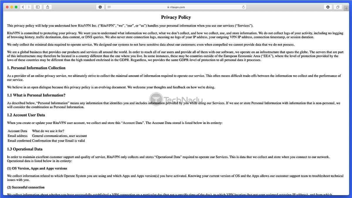 RitaVPN Privacy Policy