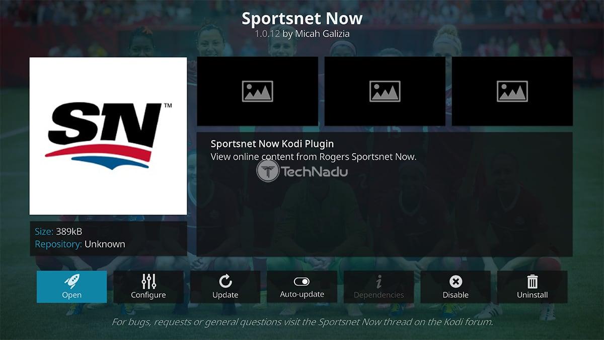 Sportsnet Now Kodi Addon