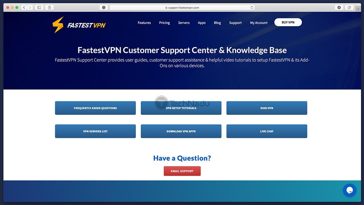Support FastestVPN Website