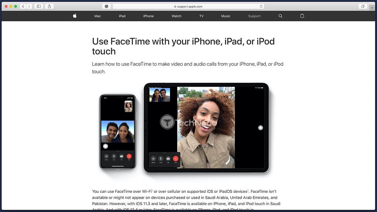 Apple FaceTime Website Homepage
