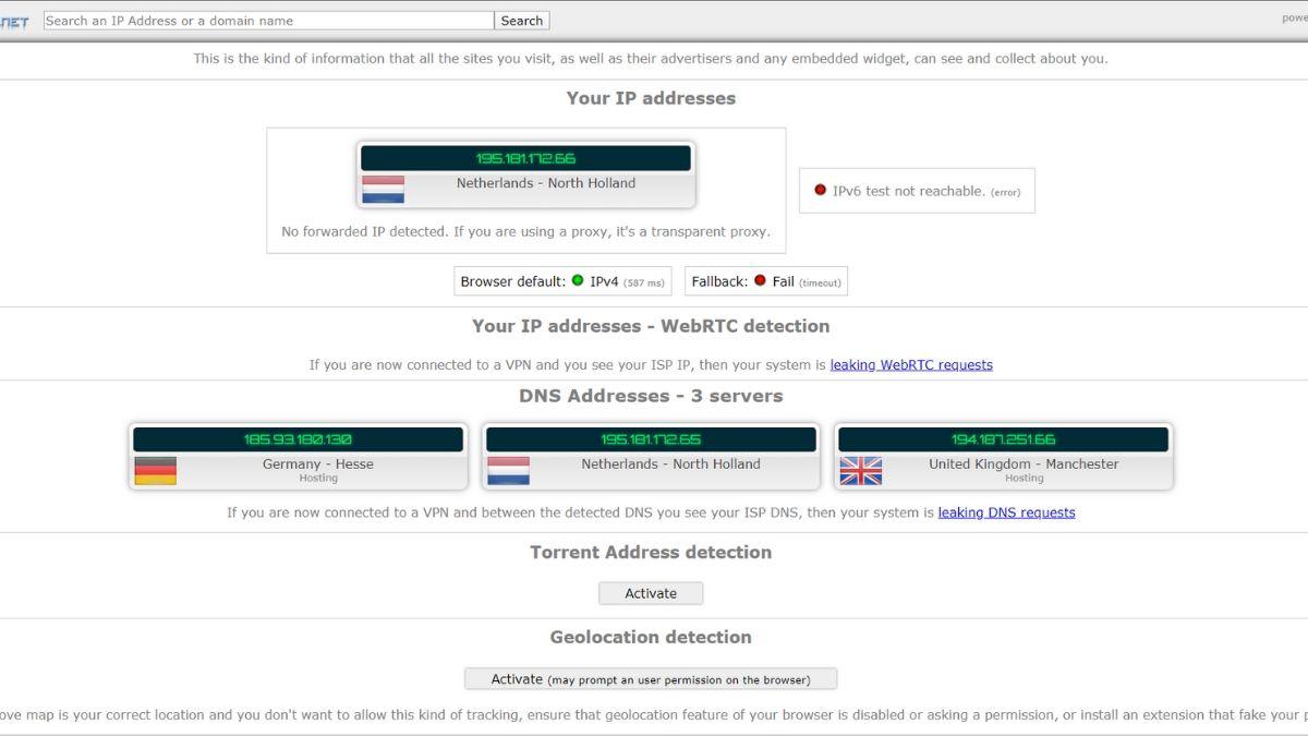 teste les fuites VPN avec ipleak.net
