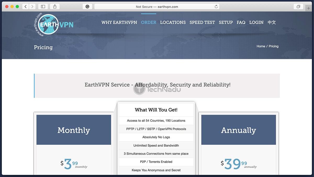 EarthVPN Scam Website