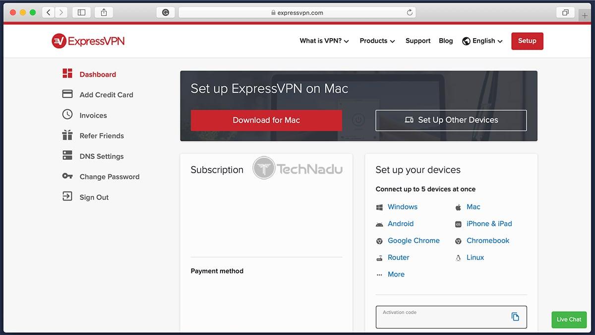 ExpressVPN Online User Dashboard UI