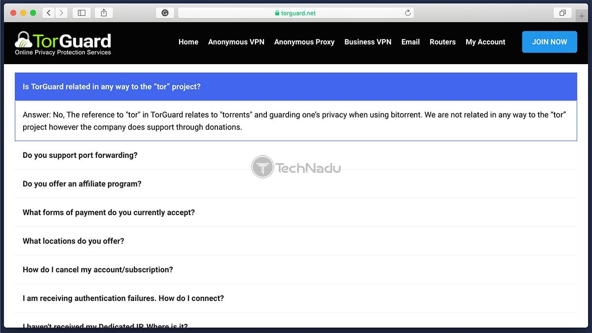 FAQ Section TorGuard Website
