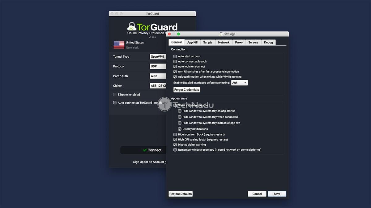 General Settings TorGuard UI