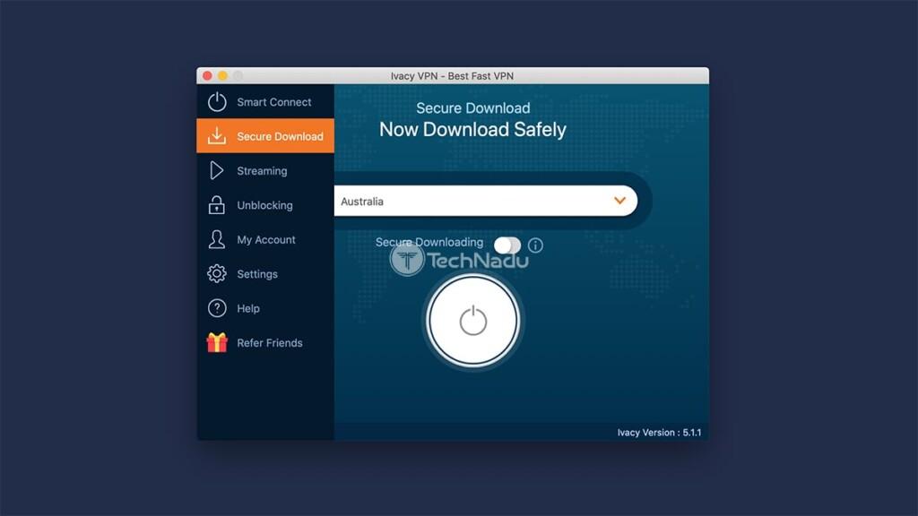 Home Screen Ivacy VPN