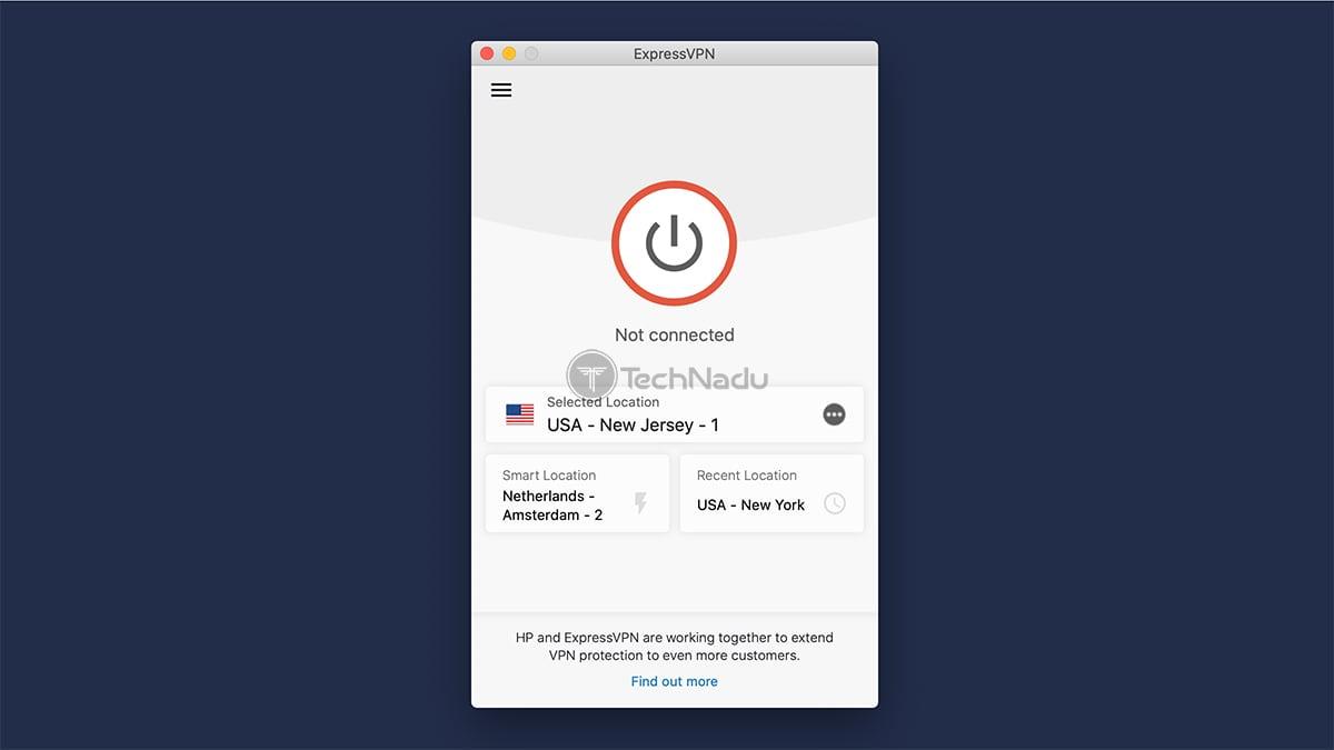 Home Screen UI ExpressVPN macOS