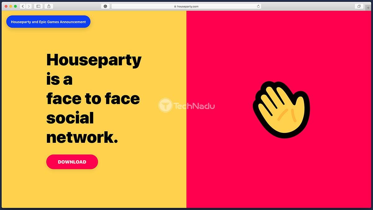 Houseparty Website Homepage