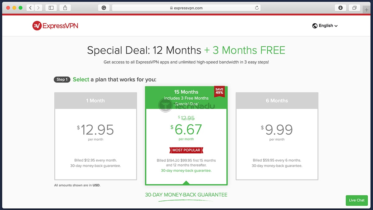 Link to ExpressVPN Pricing Page