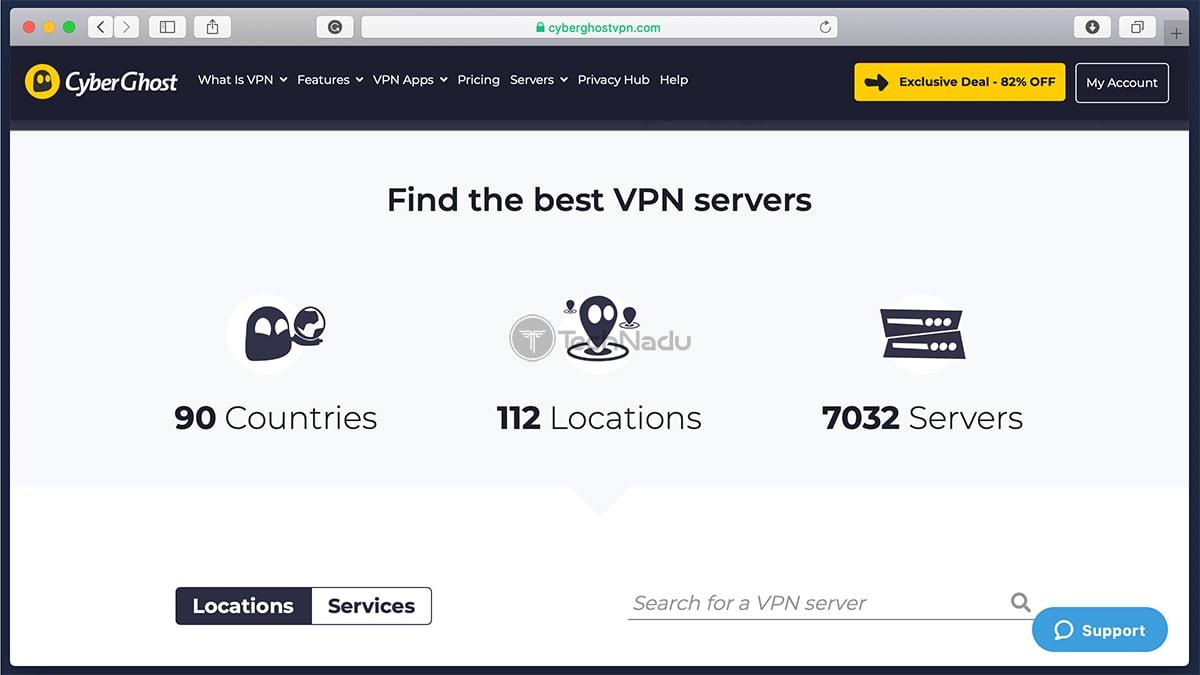 List of Locations Servers CyberGhost VPN