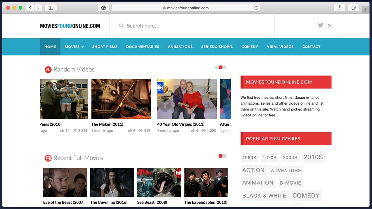 Movies Found Online Homepage