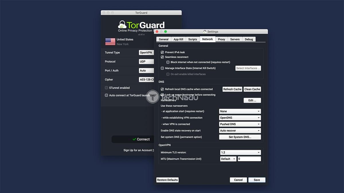 Network Preferences TorGuard Settings UI
