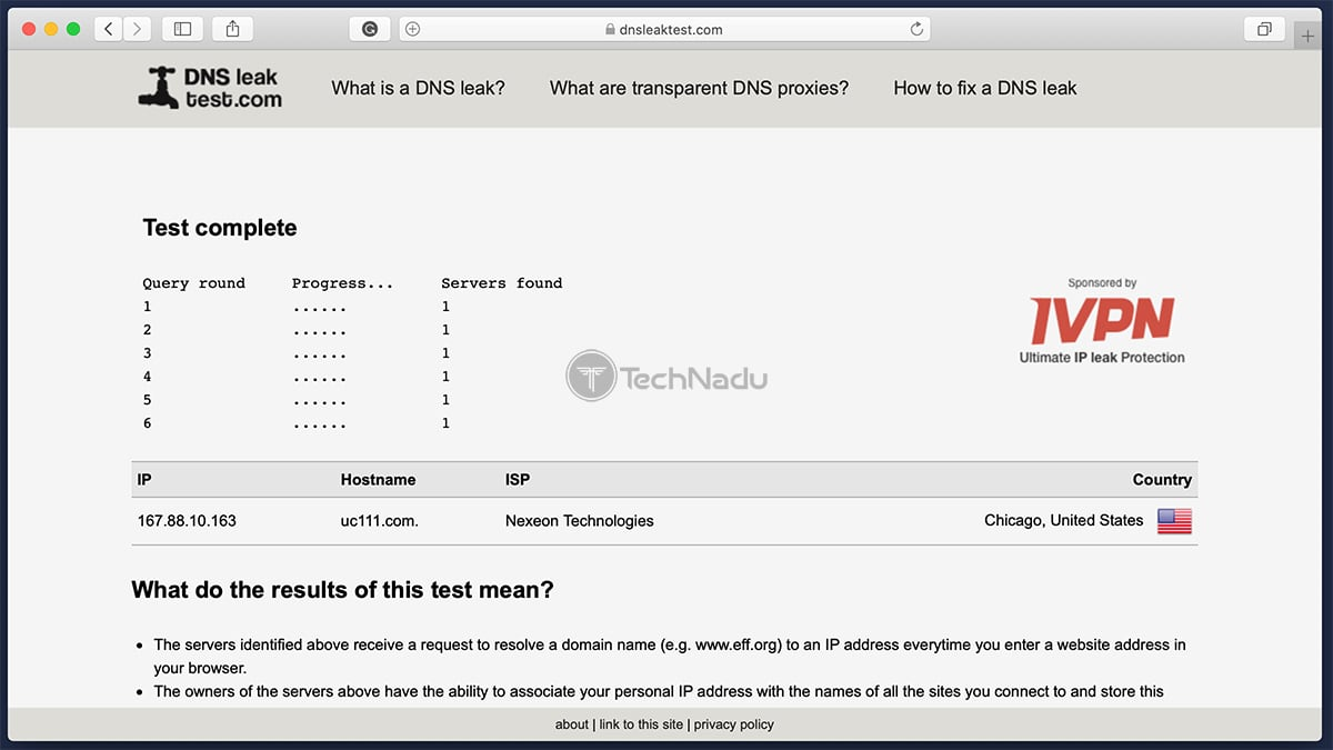 NordVPN Passes DNS Leak Test