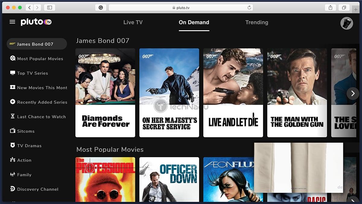 PlutoTV Homepage