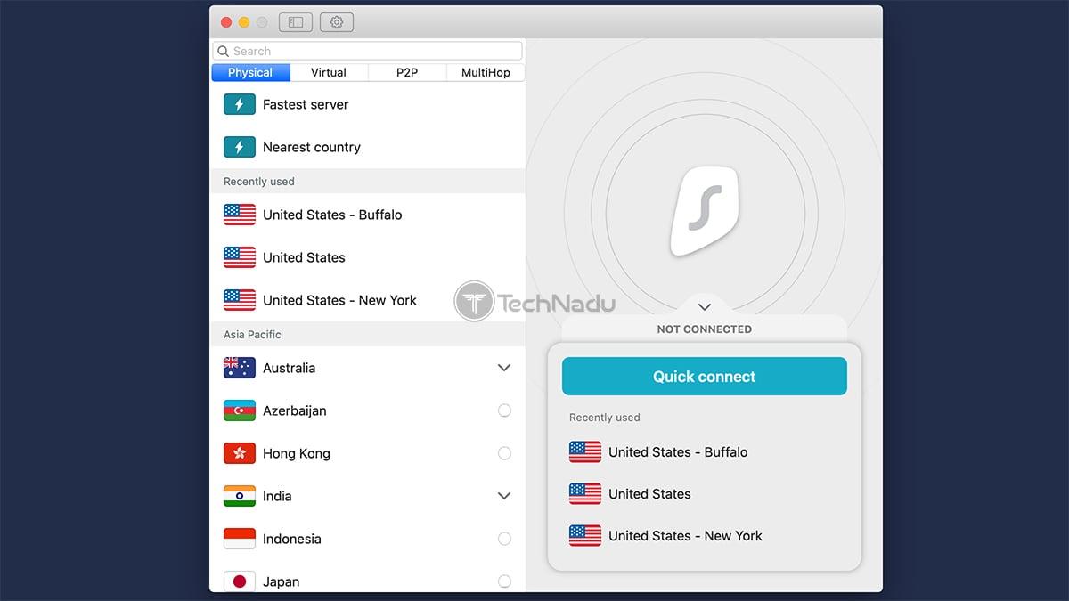 Surfshark UI macOS