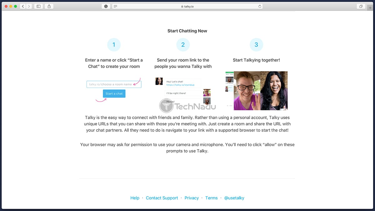 Talky Website Homepage