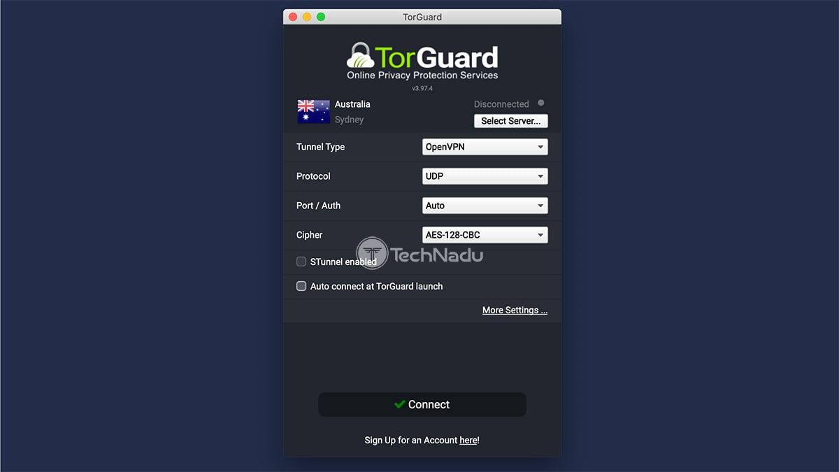 TorGuard macOS Home Screen UI