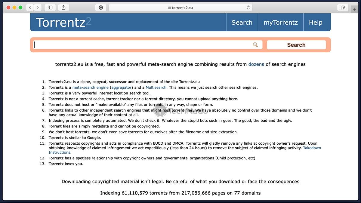 Torrentz2 Home Page UI