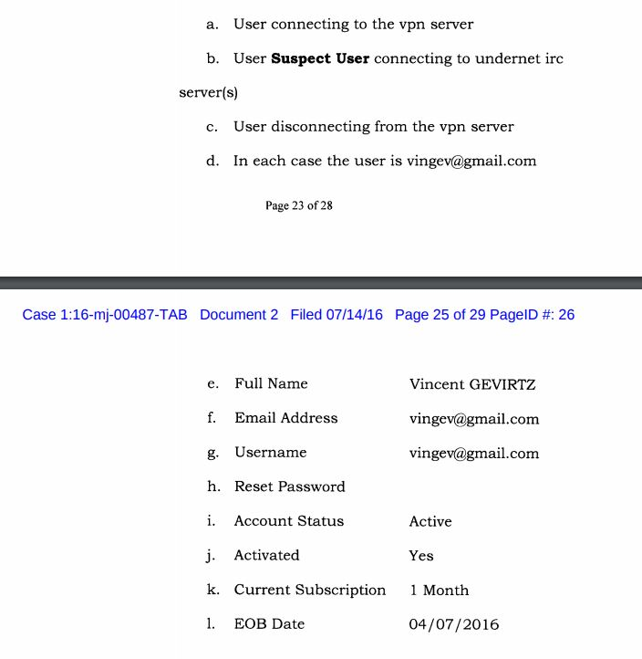 Pages from the court affidavit which prove the company behind IPVanish shared data with the US government