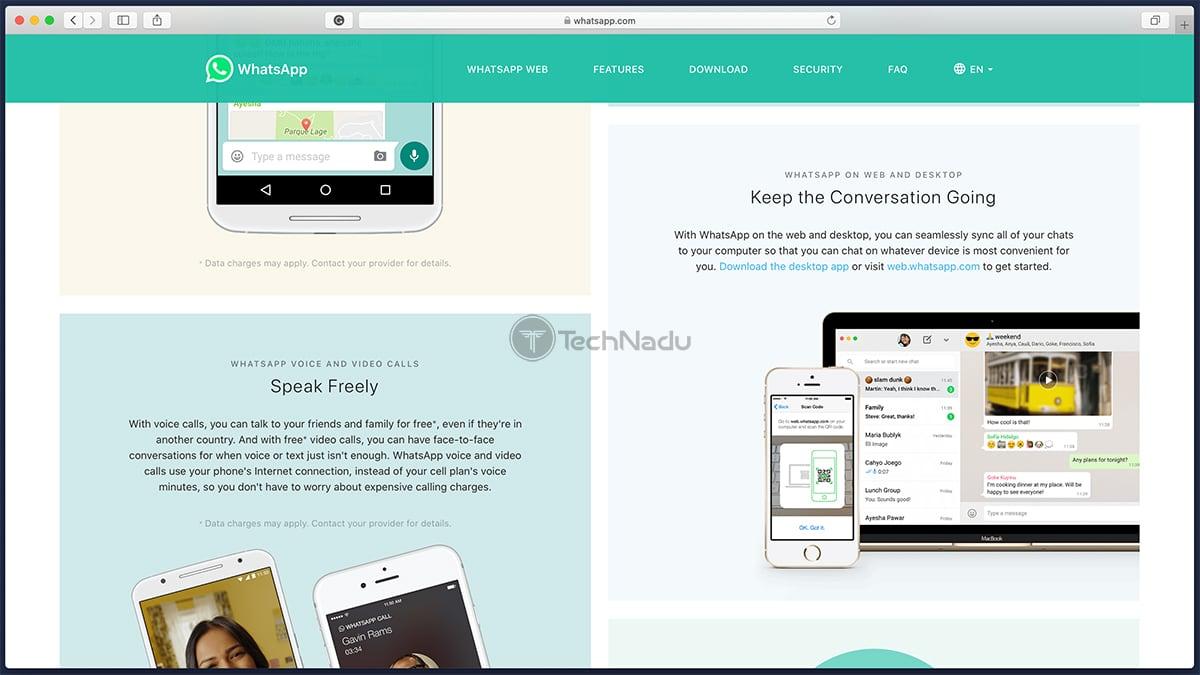 WhatsApp Homepage Website