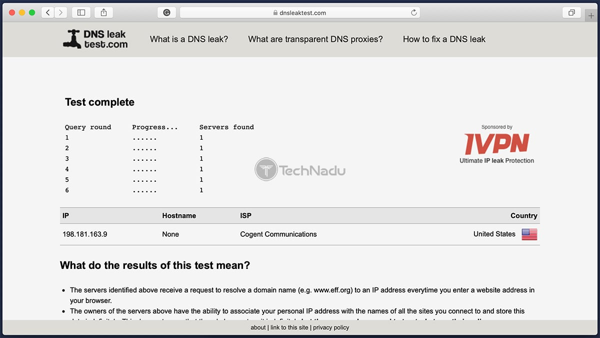 IPVanish Passes DNS Lead Test