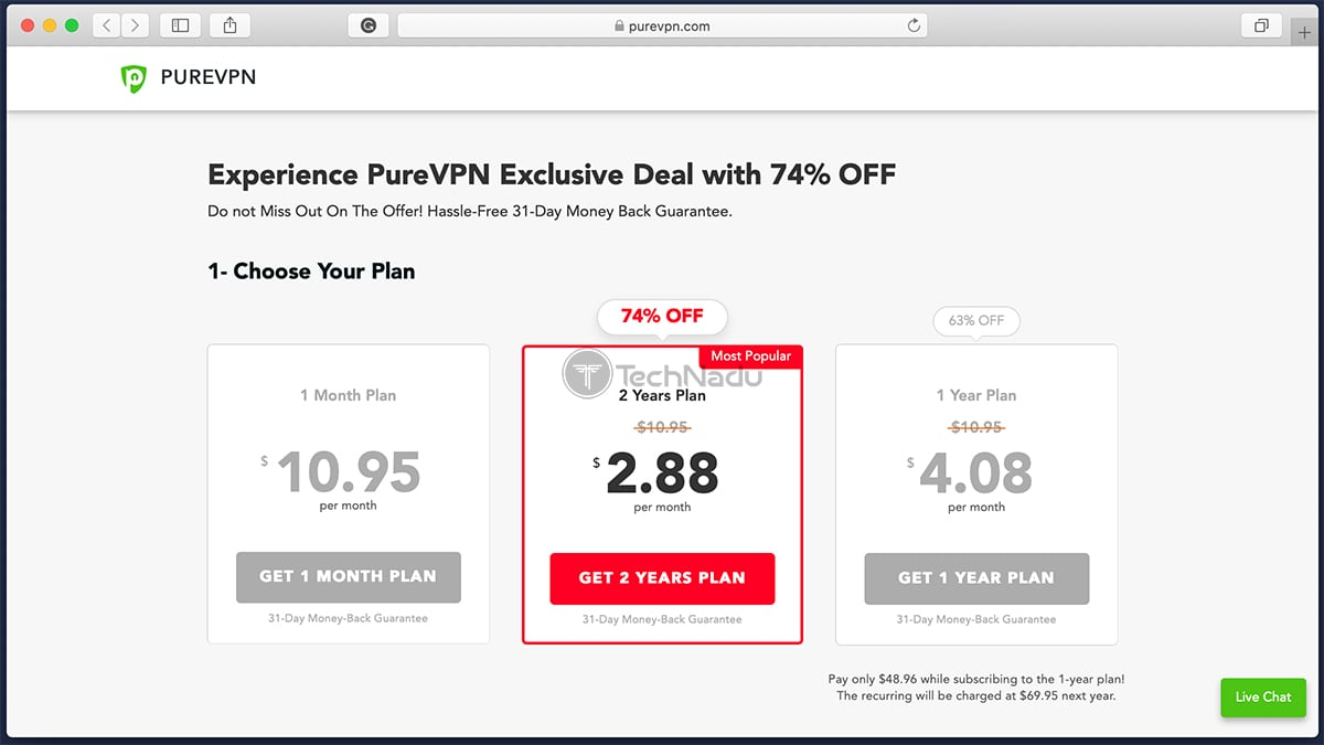 Link to PureVPN Pricing Scheme
