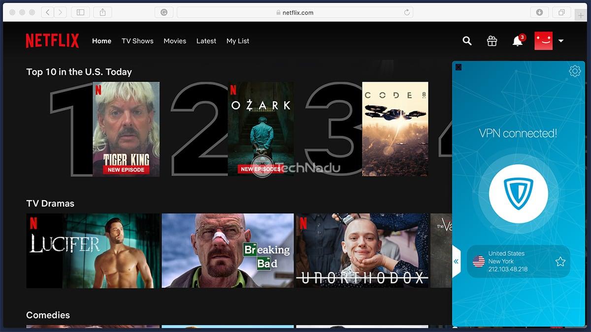 Netflix Streaming via Zenmate VPN