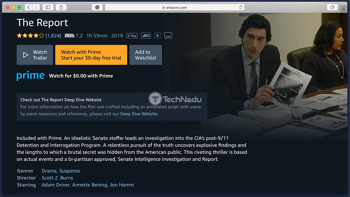 Prime Video Synopsis The Report