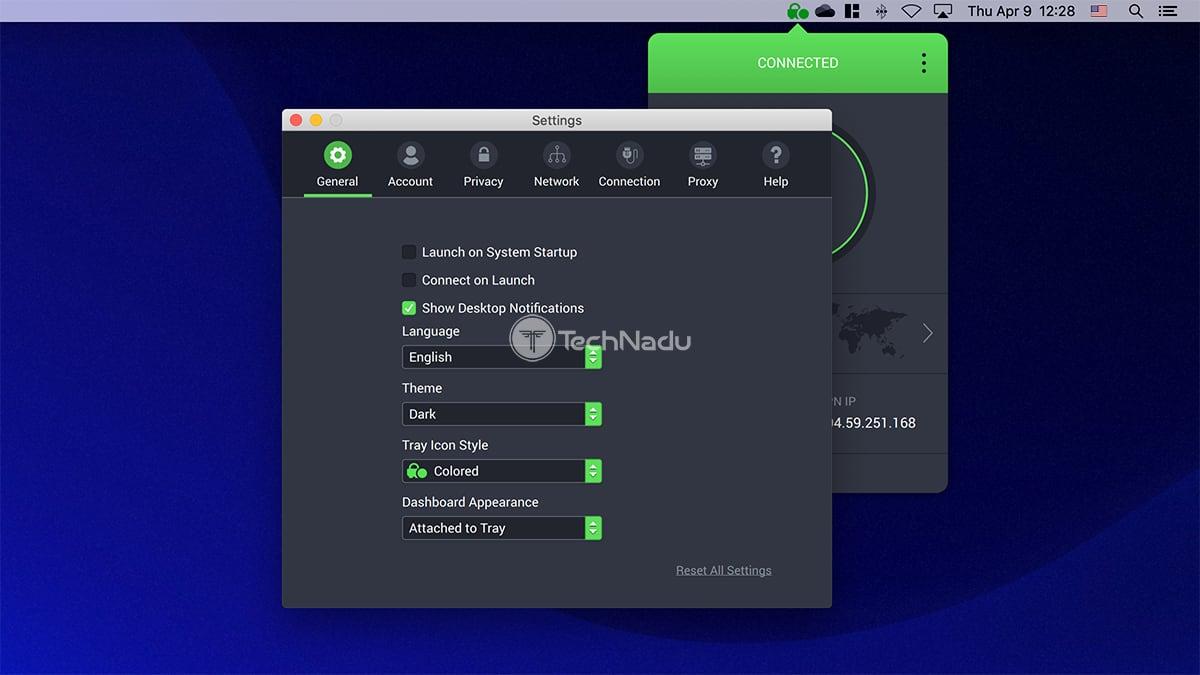 Private Internet Access General Settings UI