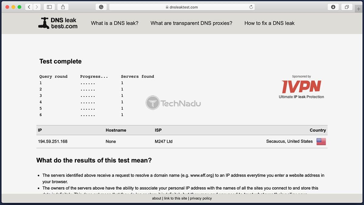 Private Internet Access Passes DNS Leak Test
