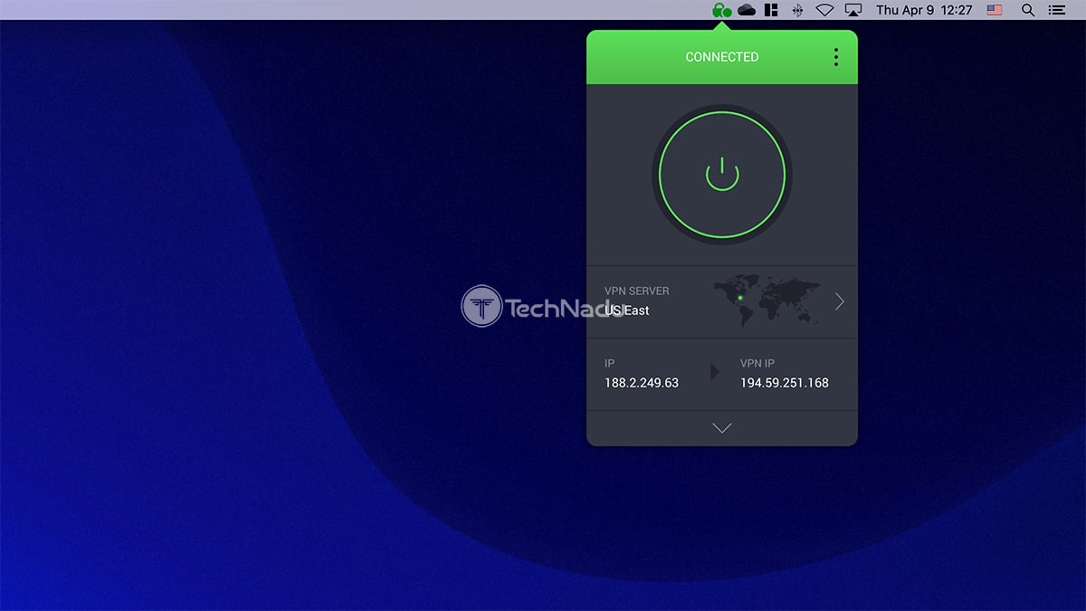 Private Internet Access UI macOS