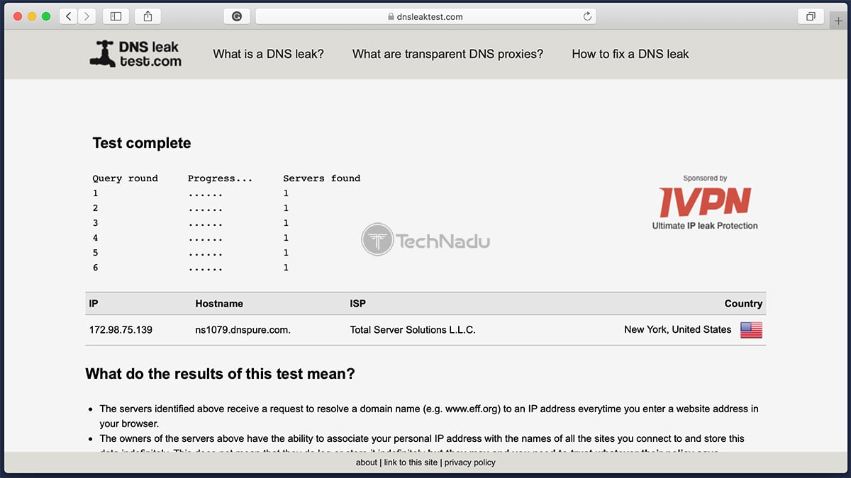 PureVPN Passes DNS Leak Test