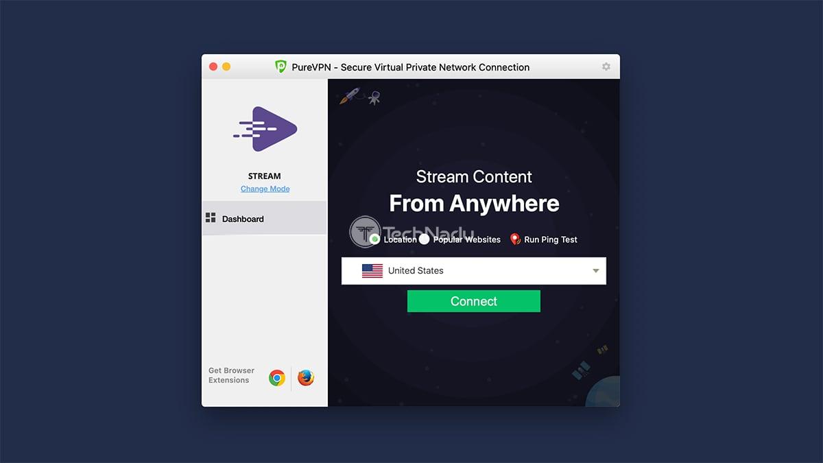 PureVPN macOS Main Screen UI