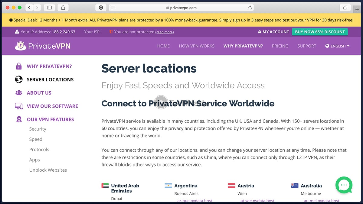 Server Locations PrivateVPN