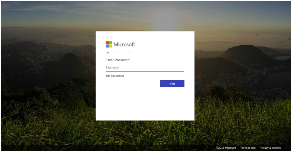 microsoft phishing page