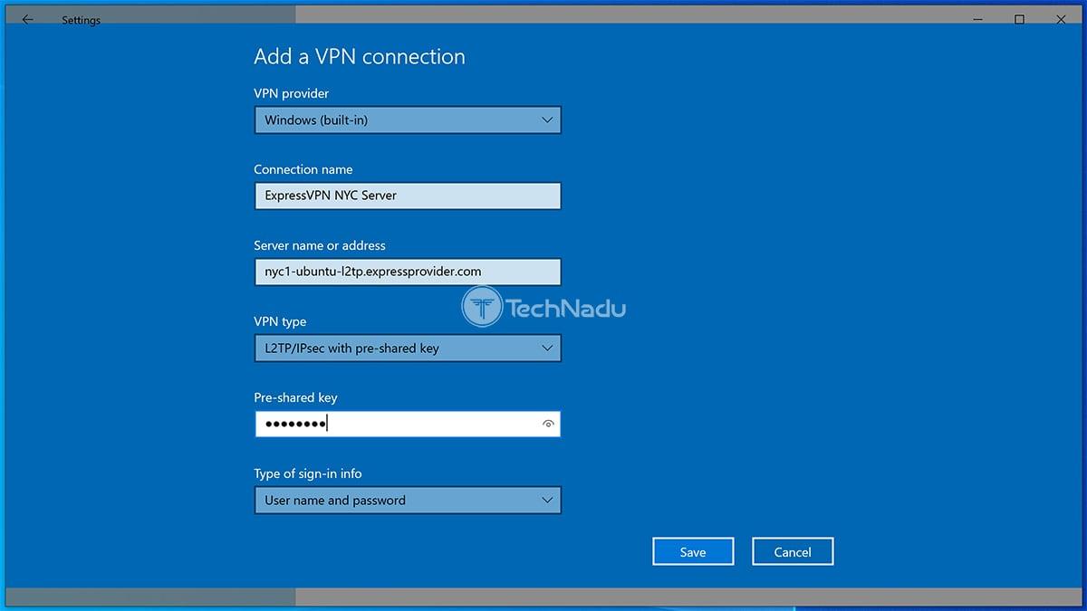 Adding VPN Connection Manually Windows 10