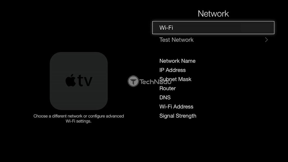Apple TV Network Settings UI