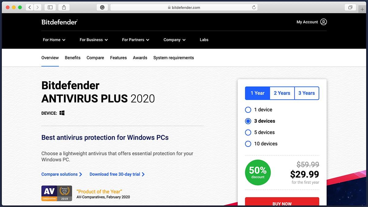 Bitdefender Antivirus Homepage