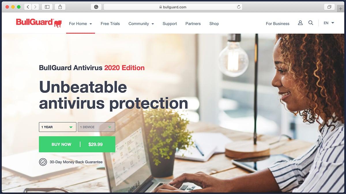 BullGuard Antivirus Homepage