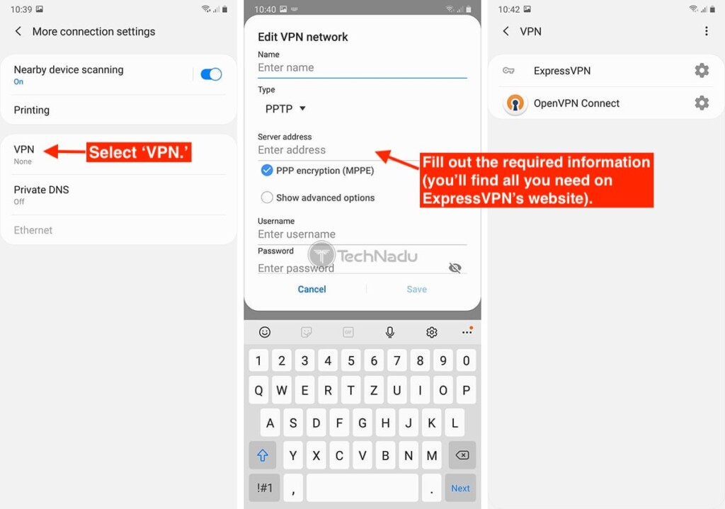 Creating VPN Connection Android Settings App