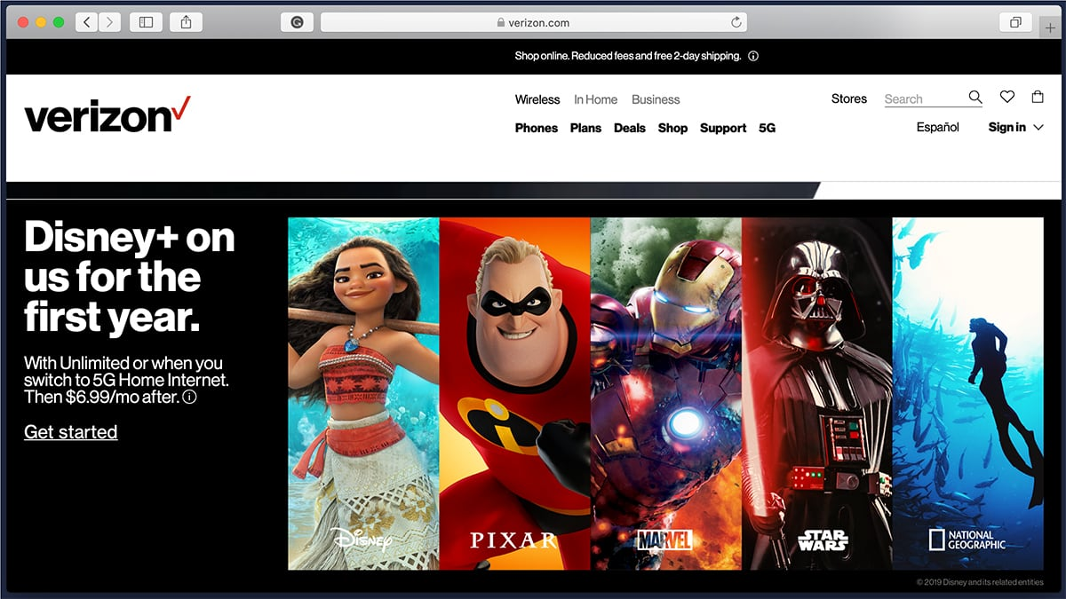 Disney Plus via Verizon Website