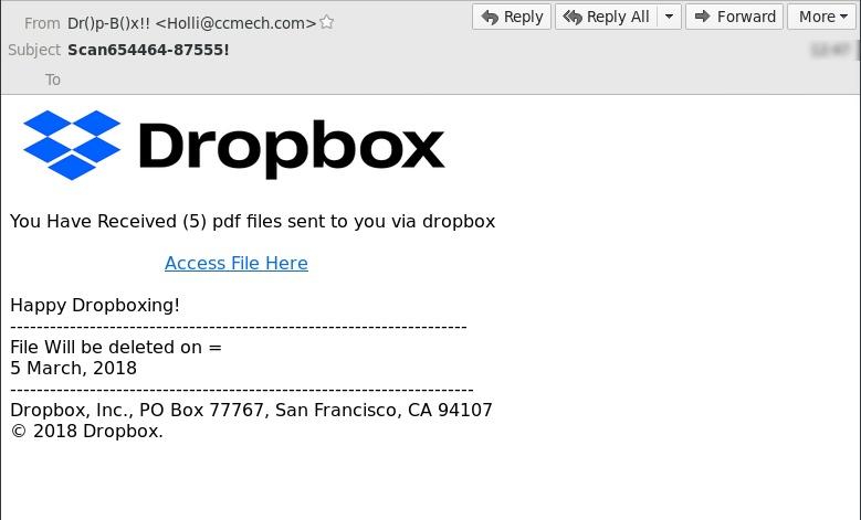 Dropbox phishing attack example