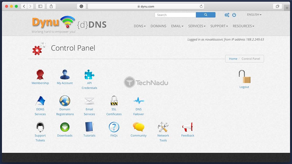 Dynu DDNS Account Dashboard