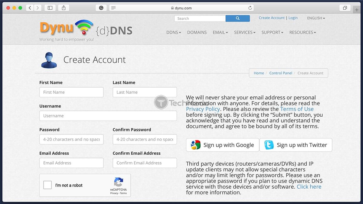 Dynu DDNS Signup Form
