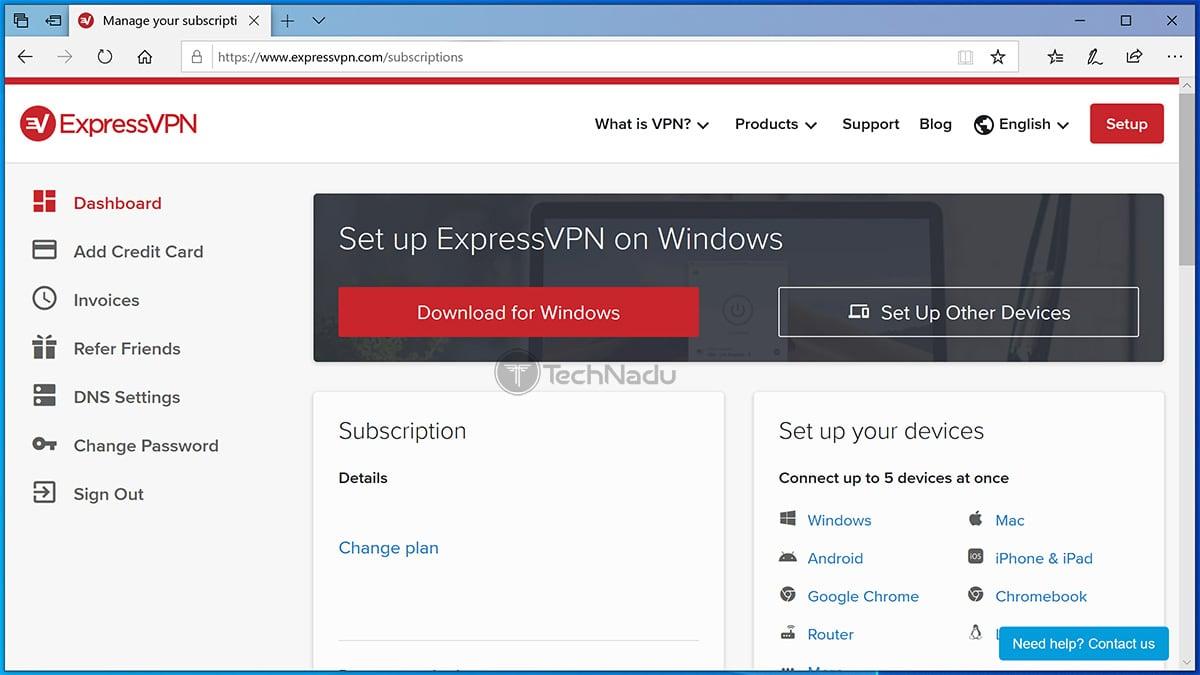 ExpressVPN Account Dashboard Website