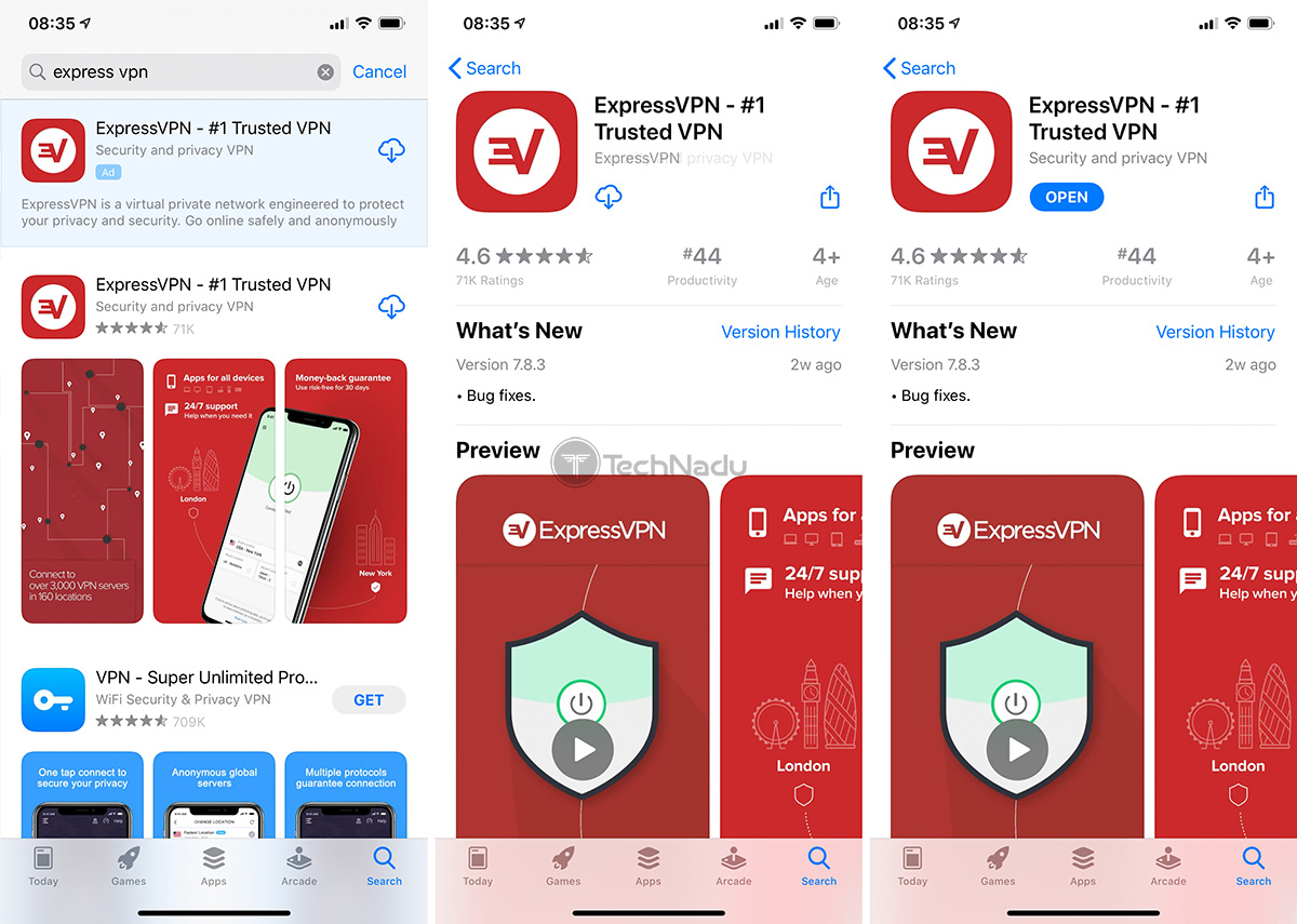 ExpressVPN App on iOS App Store