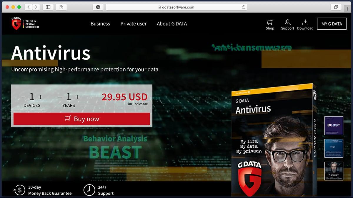 G DATA Antivirus Homepage