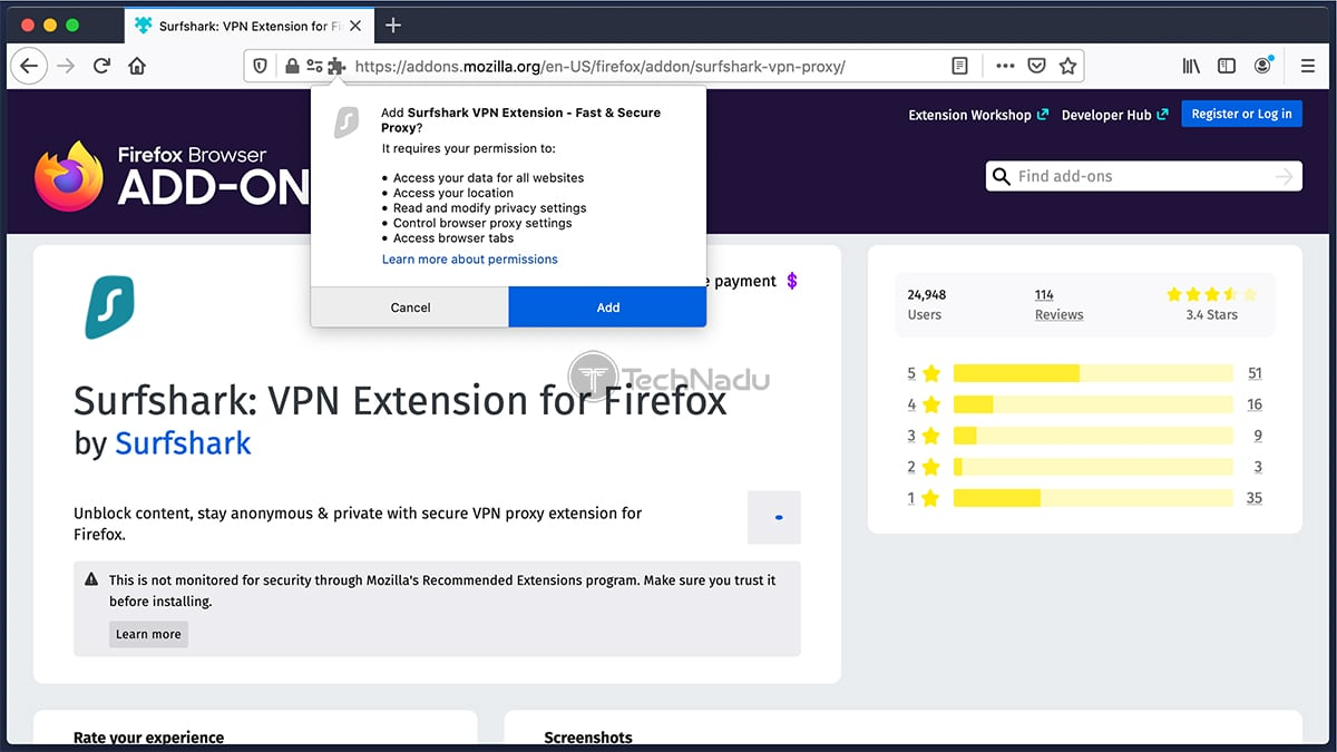 Installing Surfshark Firefox Extension